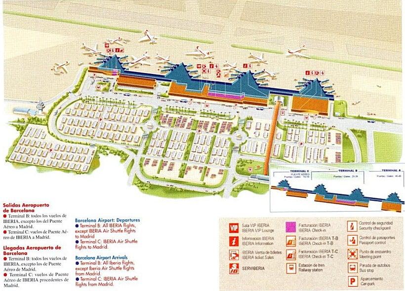 Plano del Aeropuerto de Barcelona