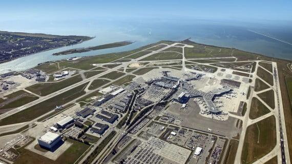 Vista aérea del Aeropuerto de Vancouver, Canadá