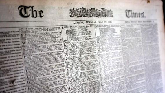 Aspecto de los primeros ejemplares de The Times