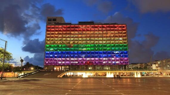 Ayuntamiento de Tel Aviv (Israel) durante el orgullo gay