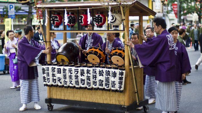 Celebración do festival Kanda Matsuri en Tokio