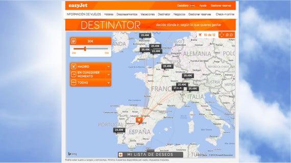 Destinos de EasyJet desde España