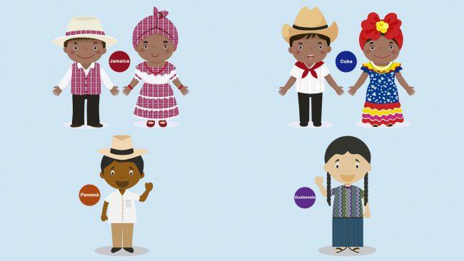 Dibujos de trajes típicos de Centroamérica y América insular