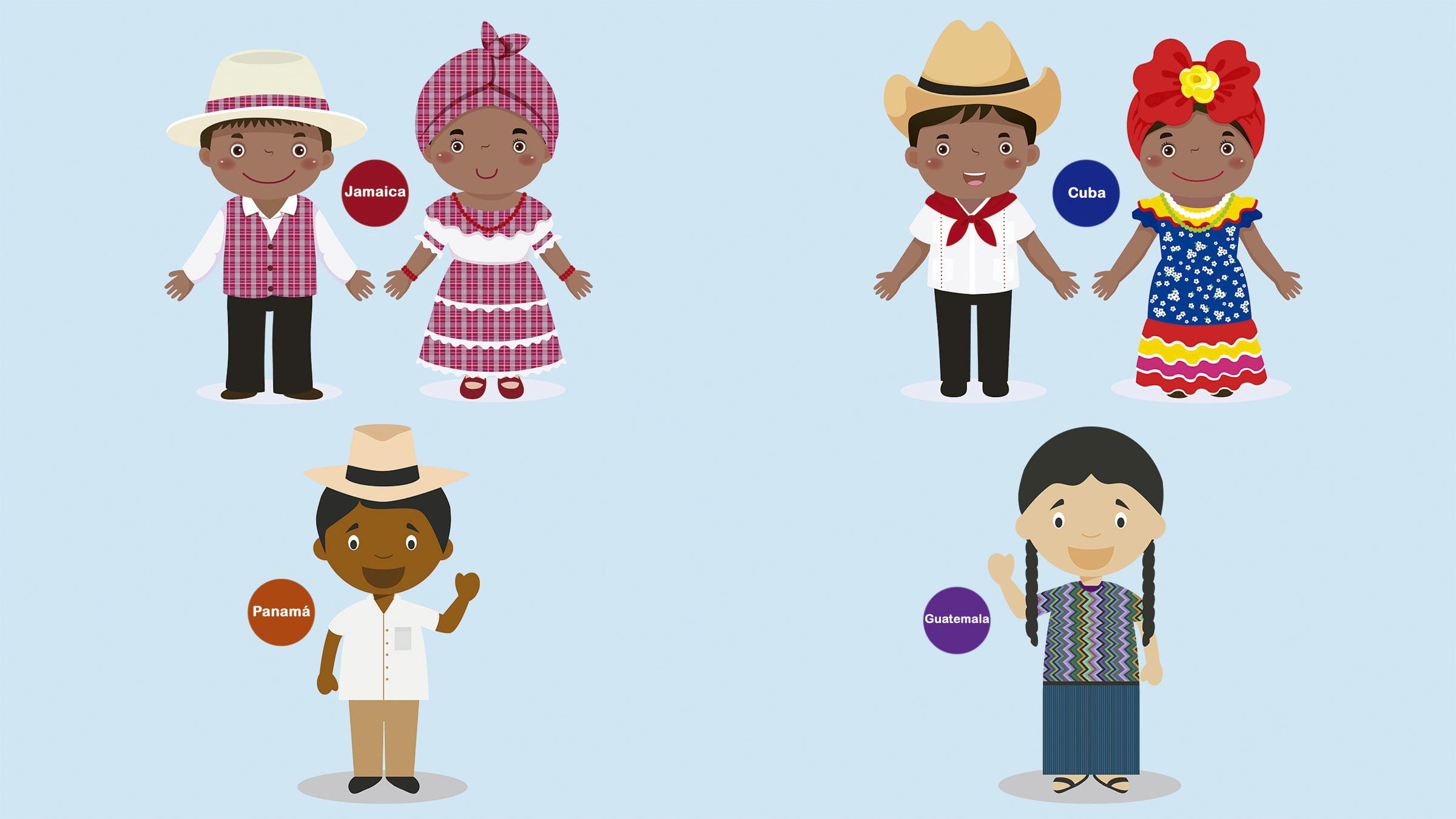 Dibujos de trajes tpicos de Centroamrica y Amrica insular