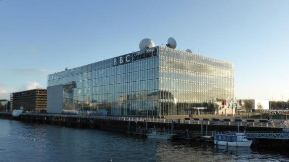 Edificio de la BBC Scotland en Pacific Quay, Glasgow, Escocia