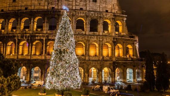 El coliseo romano en Navidad