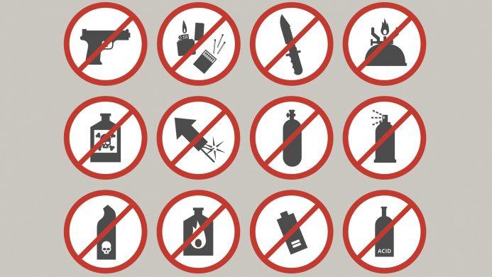 Artículos prohibidos como equipaje de mano: las armas en general