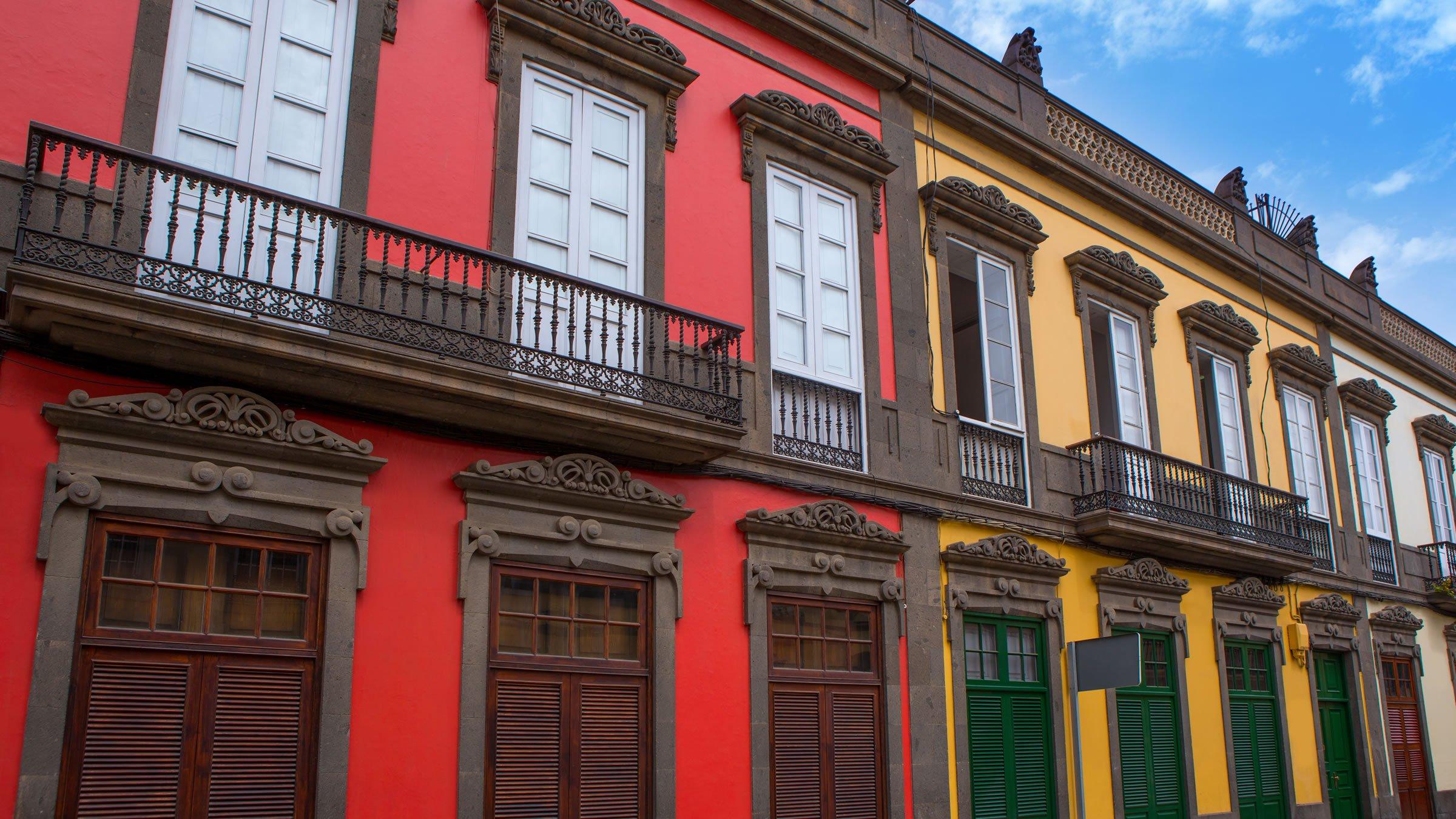 Fachadas tradicionales del barrio de La Vegueta, Las Palmas