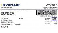 Modelo de tarjeta de embarque online de Ryanair