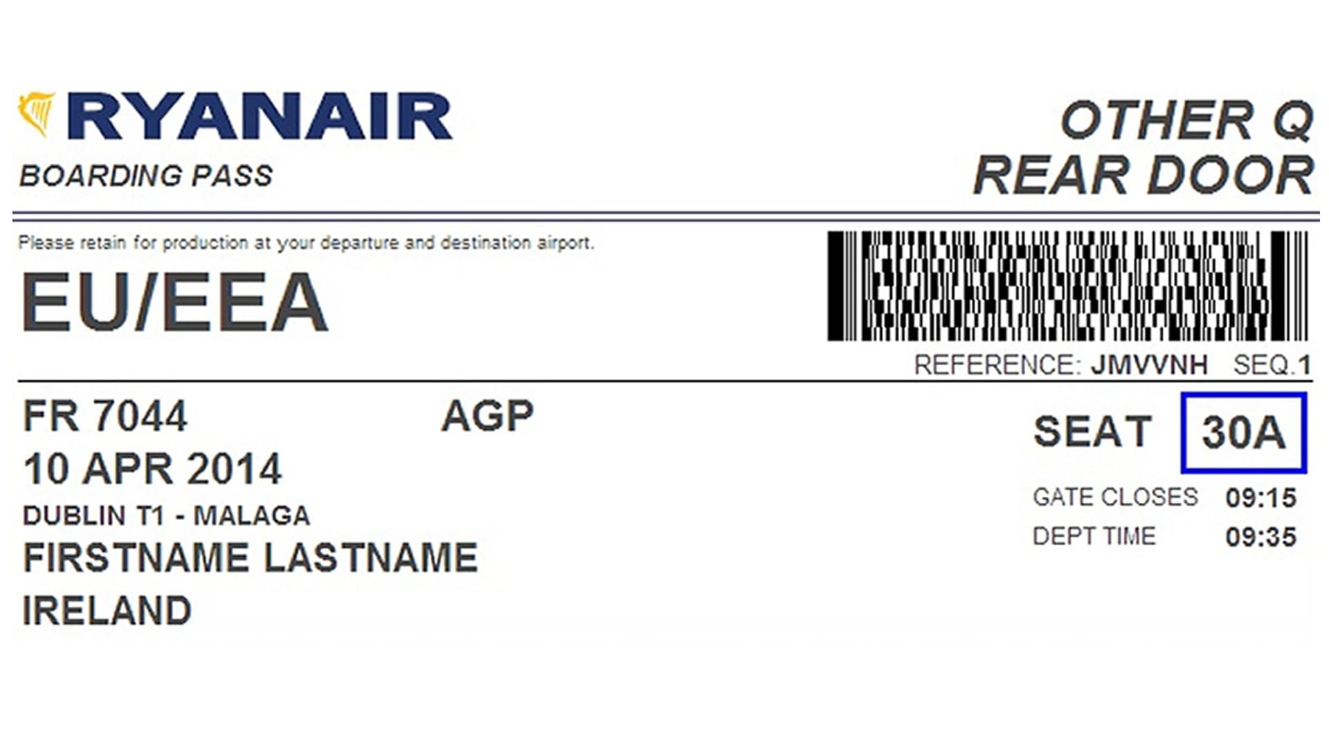 Modelo de tarjeta de embarque online de ryanair for Billetes de avion baratos barcelona paris