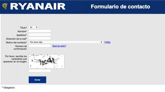 Formulario de contacto Ryanair