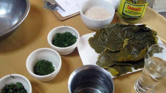Ingredientes para preparar dolmades