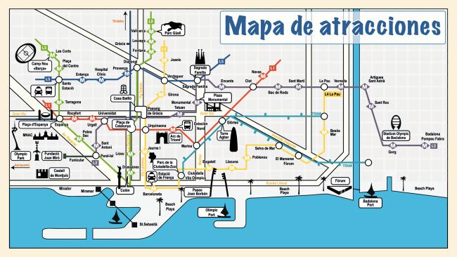 バルセロナの主要な地下鉄路線