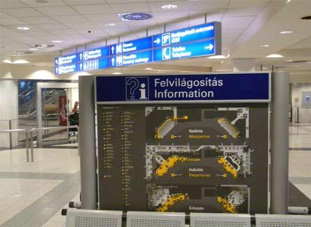 Informacion en el Aeropuerto de Budapest