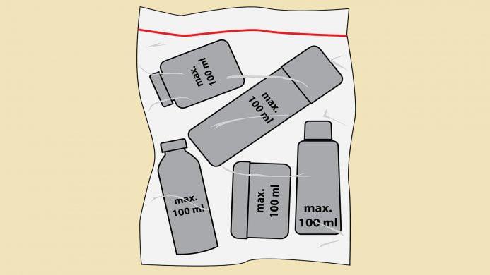 Líquidos en bolsa de plástico transparente