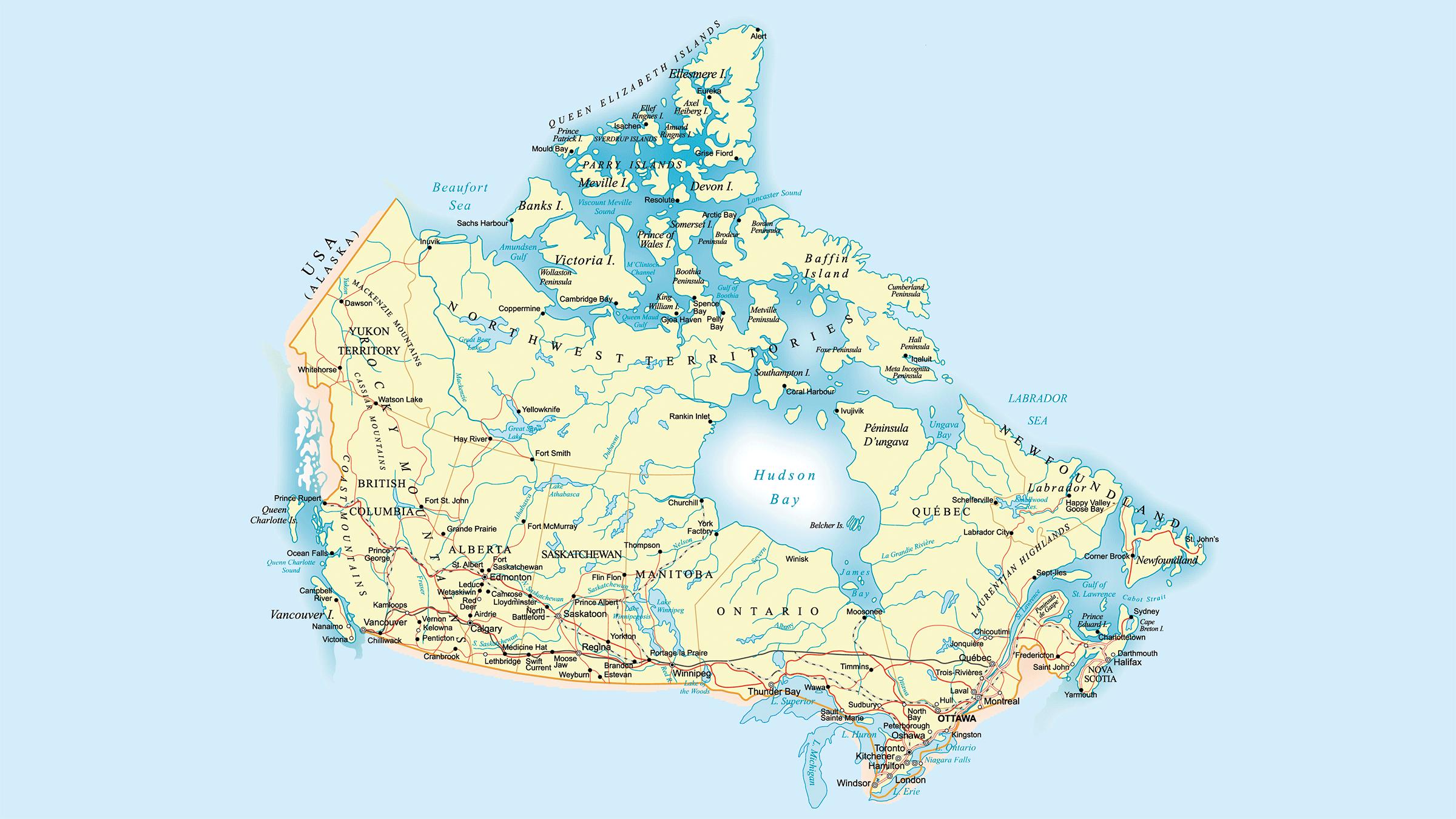 Mapa Hidrografico de Canada