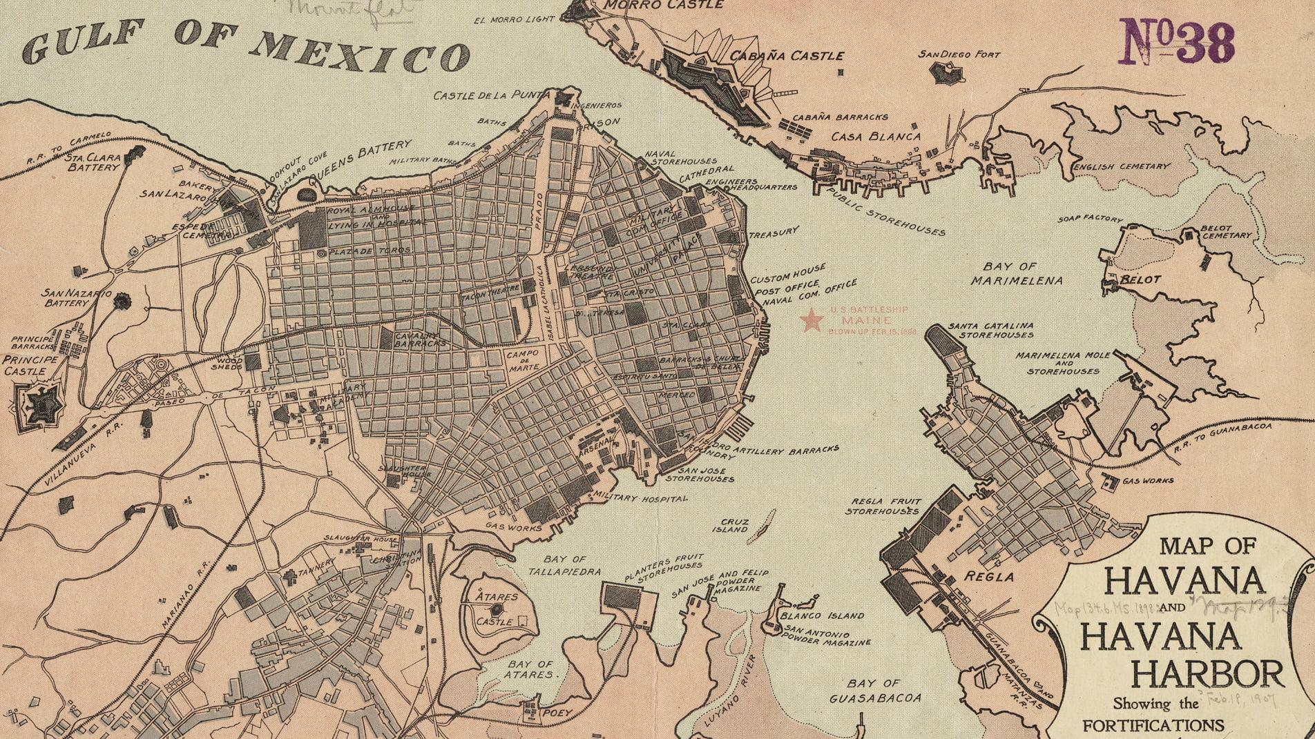 Mapa antiguo de La Habana Cuba