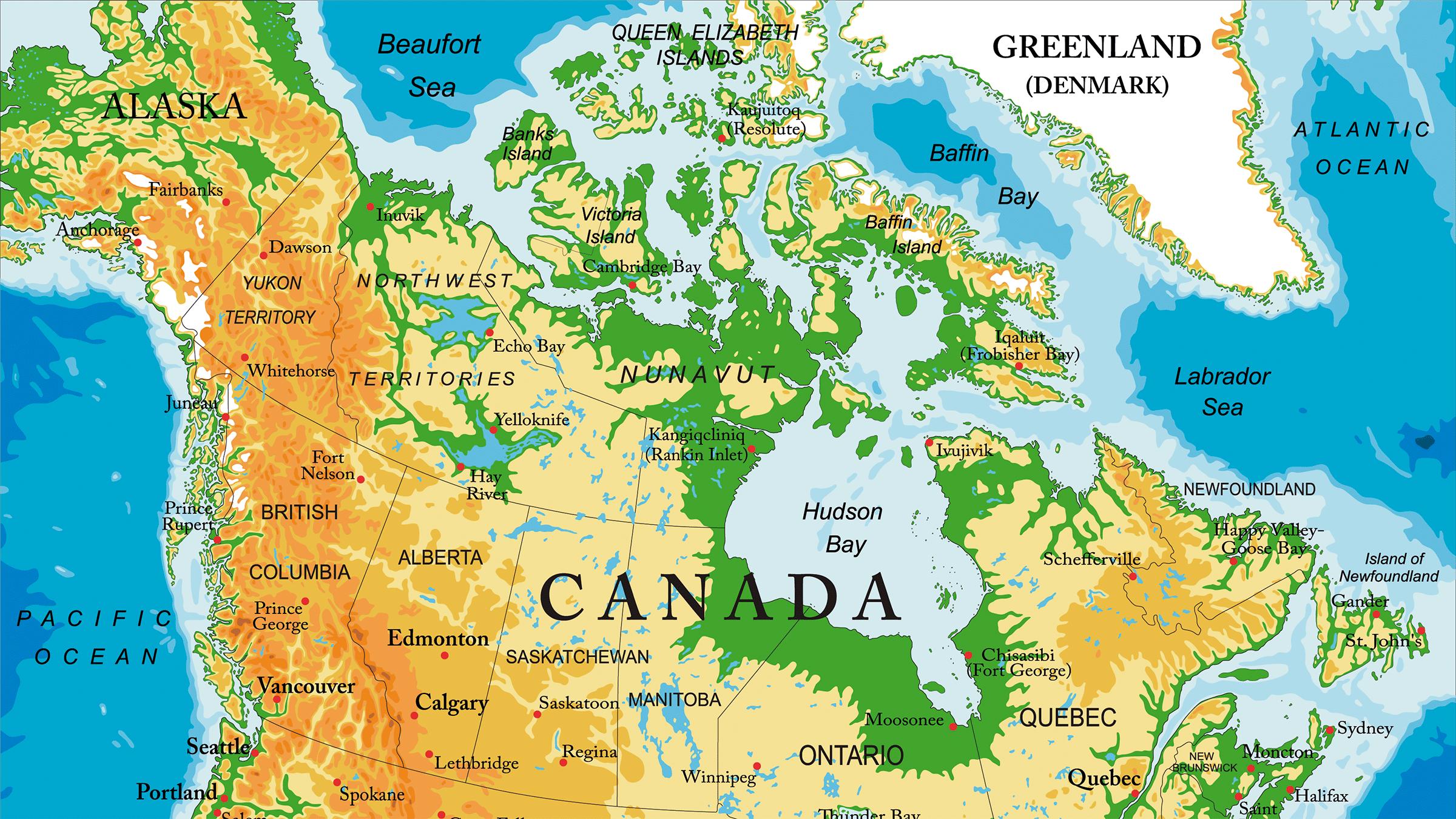 Mapa Topografico de Canada