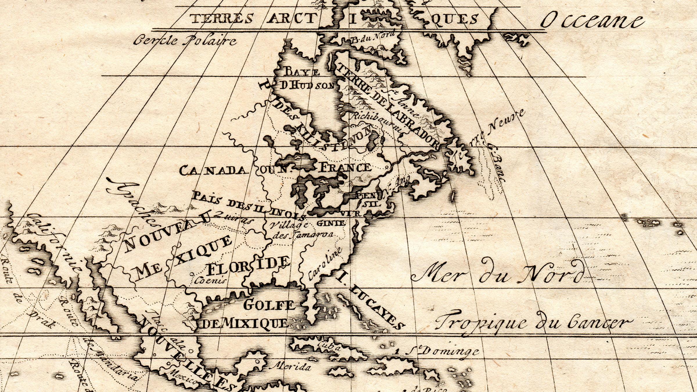 Mapa antiguo de Canada y Norte America - 1566