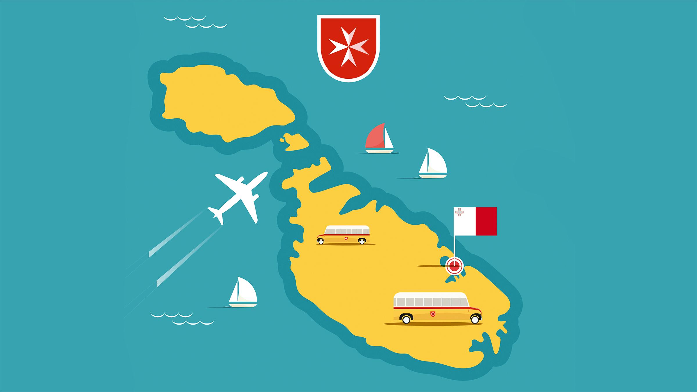 Mapa con atracciones turisticas de Malta