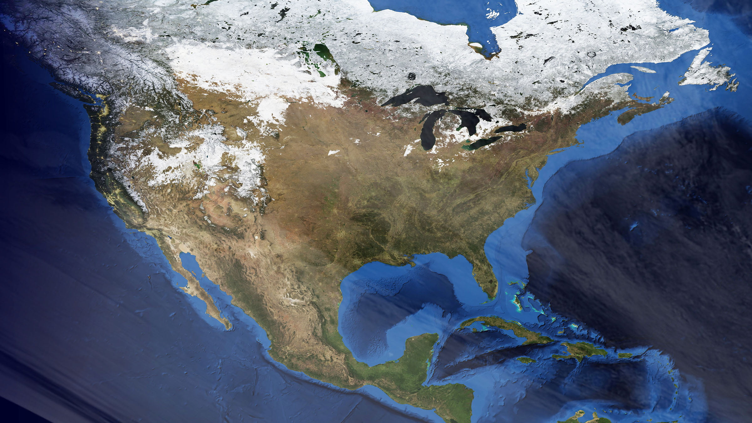Mapa de Canada - Satellite