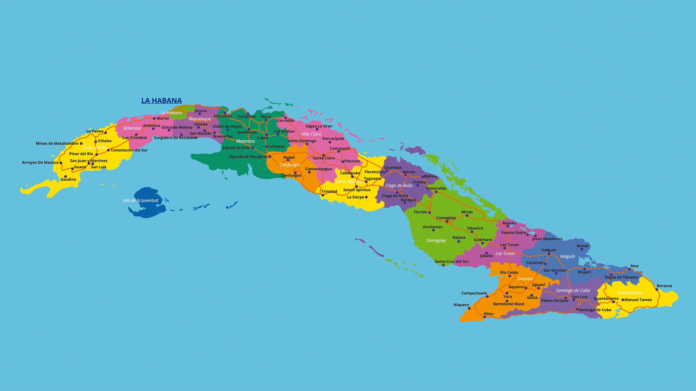 Mapa de Carreteras Cuba