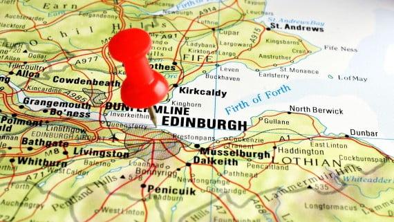 Mapa de Escocia señalando Edimburgo