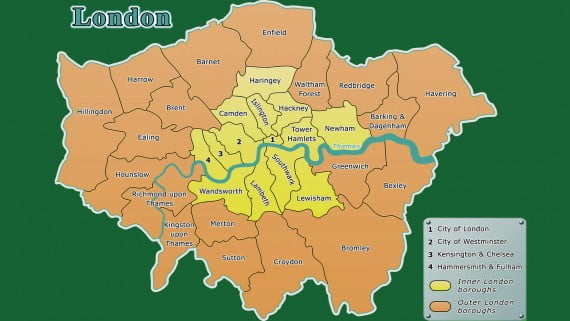Mapa de Londres exterior y Londres interior