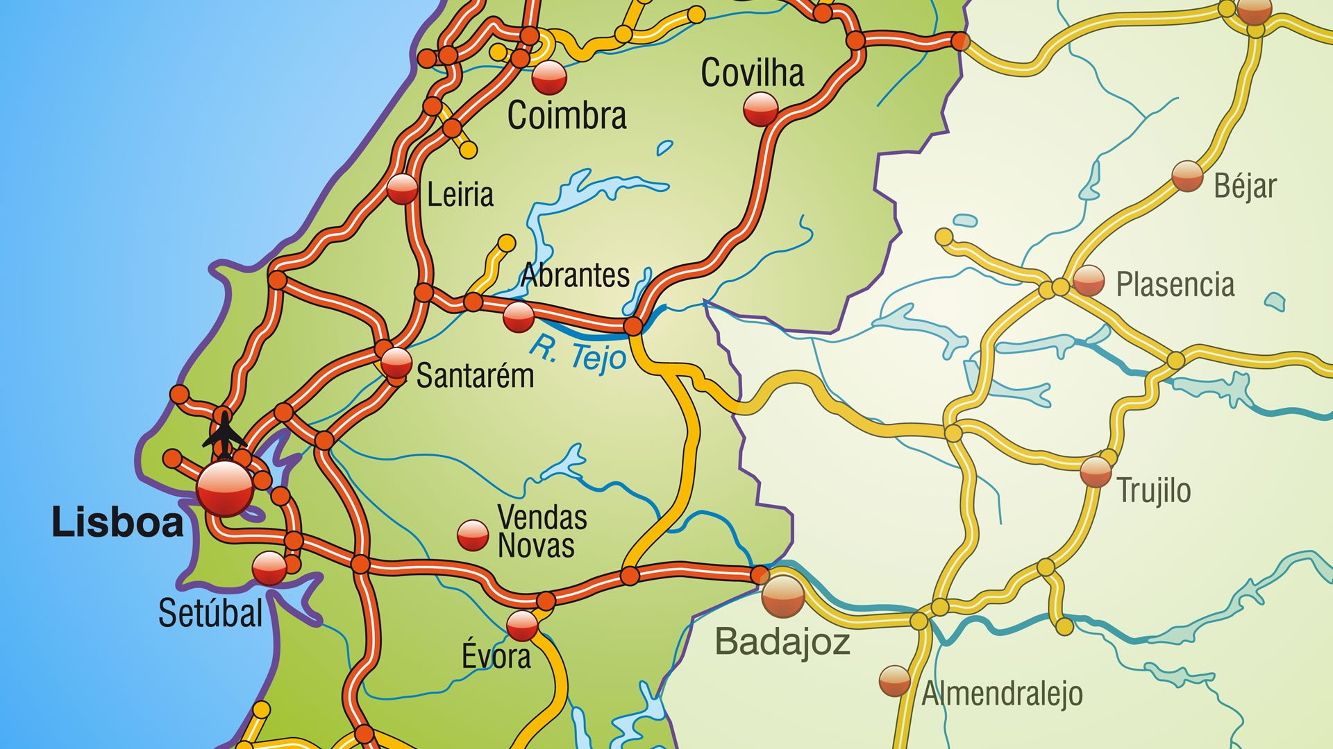 mapa portugal centro Mapa de autovías de Portugal: zona centro mapa portugal centro