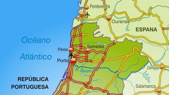 Mapa de autovías de Portugal: zona norte