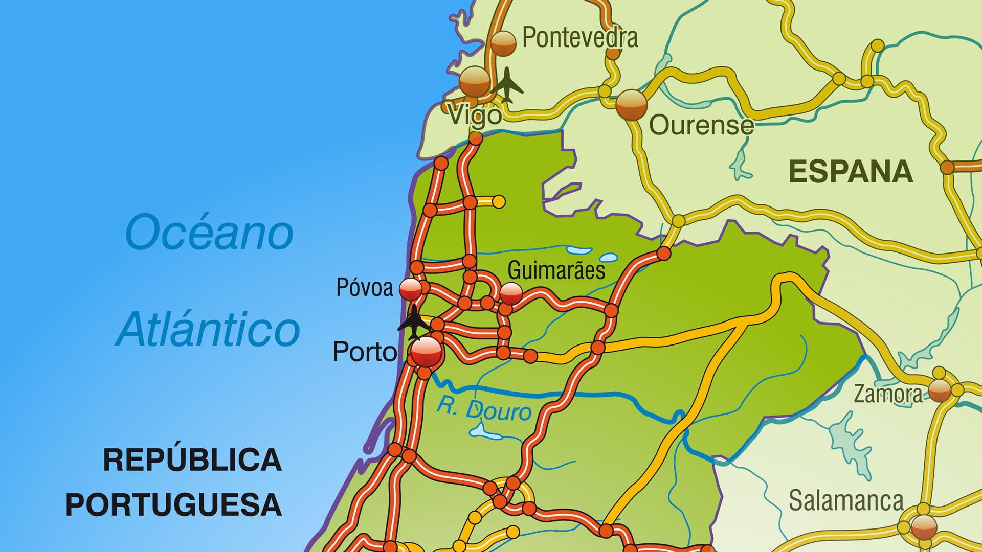 mapa norte de portugal turismo Mapa de autovías de Portugal: zona norte mapa norte de portugal turismo