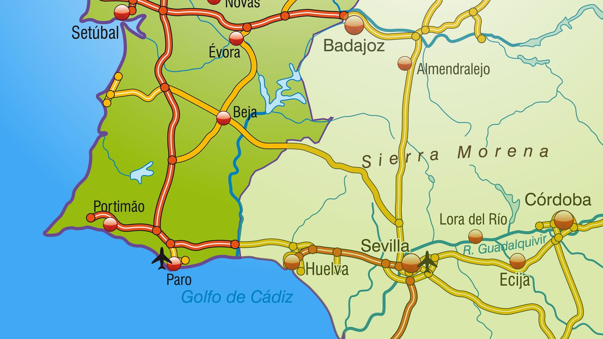 Mapa de carreteras PortugalEspaa