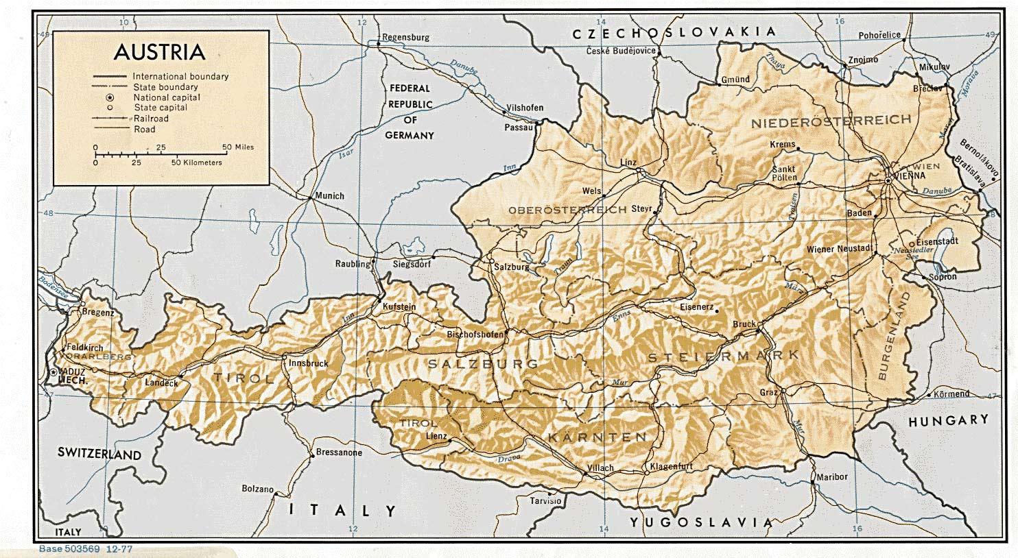 Cartina Austria Stradale.Cartina Stradale Austria