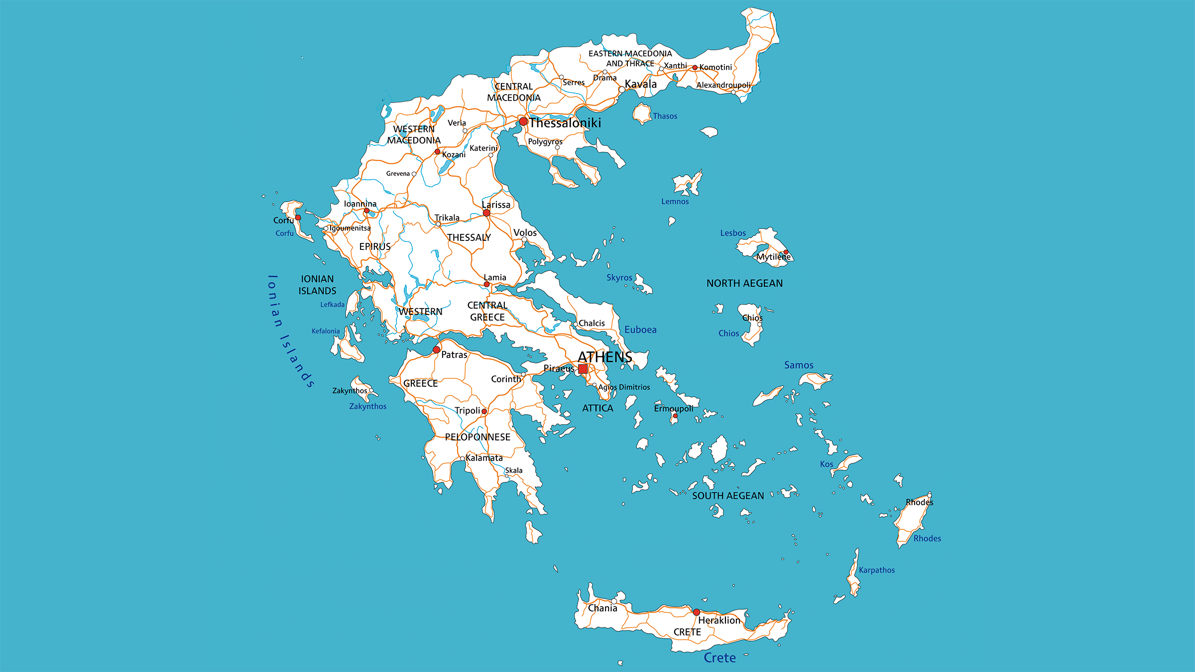 Mapa de carreteras Grecia