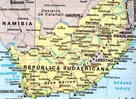 Mapa de carreteras de Sudafrica