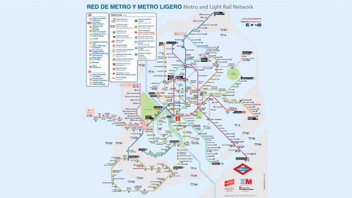 Mapa de la red de metro y metro ligero de Madrid