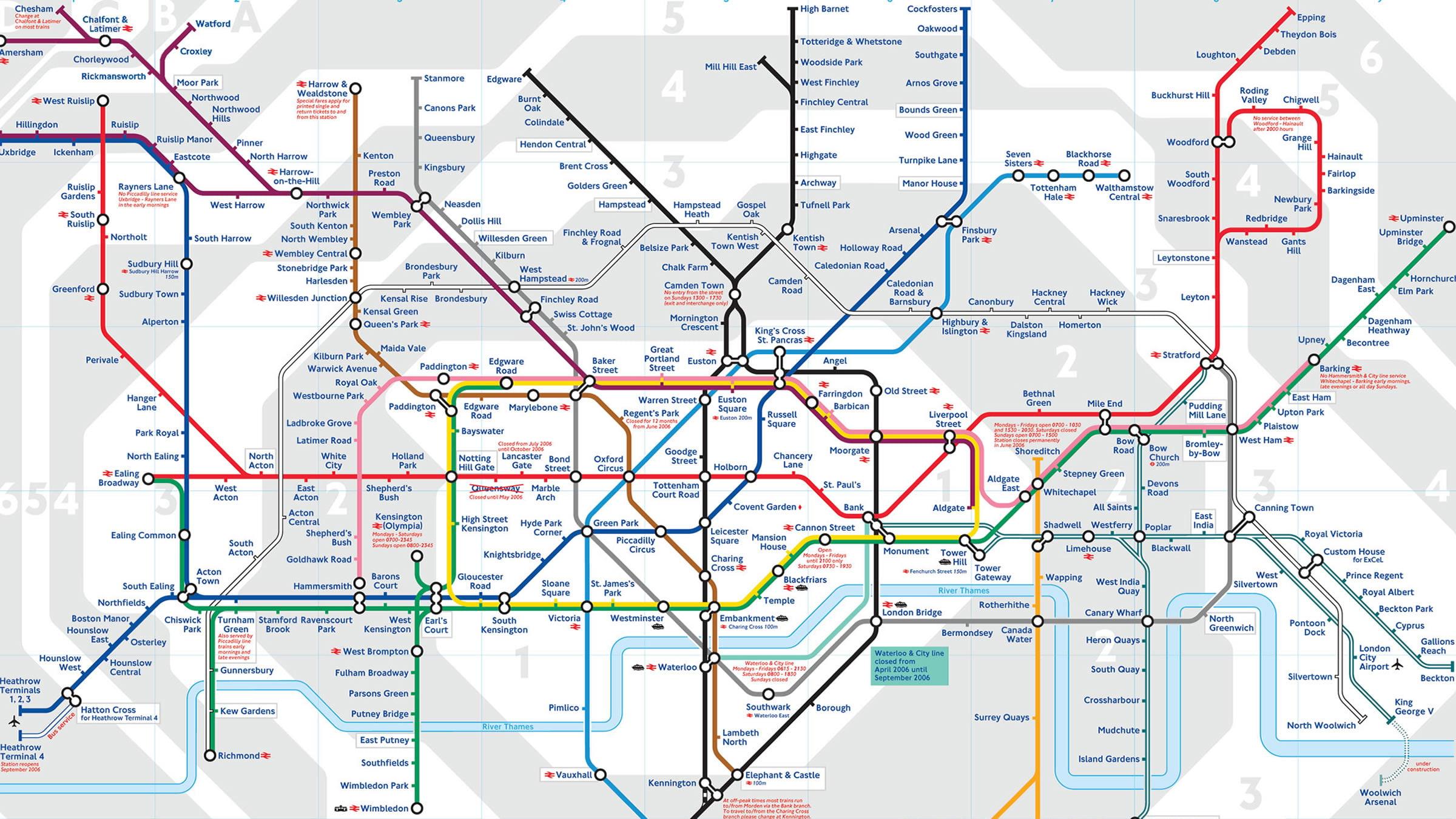 Mapa de las líneas de metro de Londres con zonas