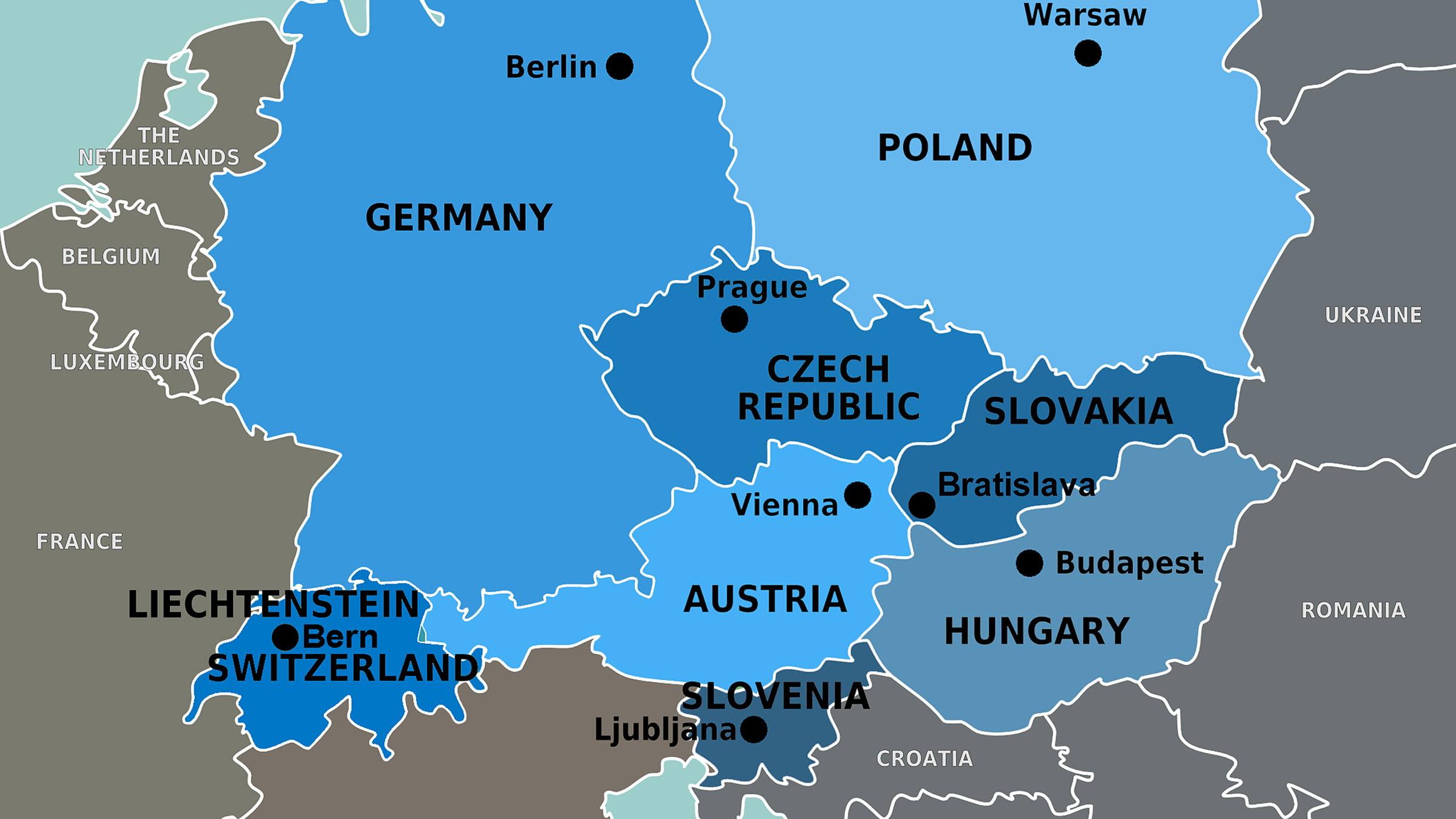 mapa de los pa ses de europa central