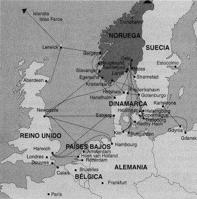 Mapa de rutas Dinamarca