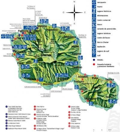 Mapa de servicios de la Polinesia Francesa