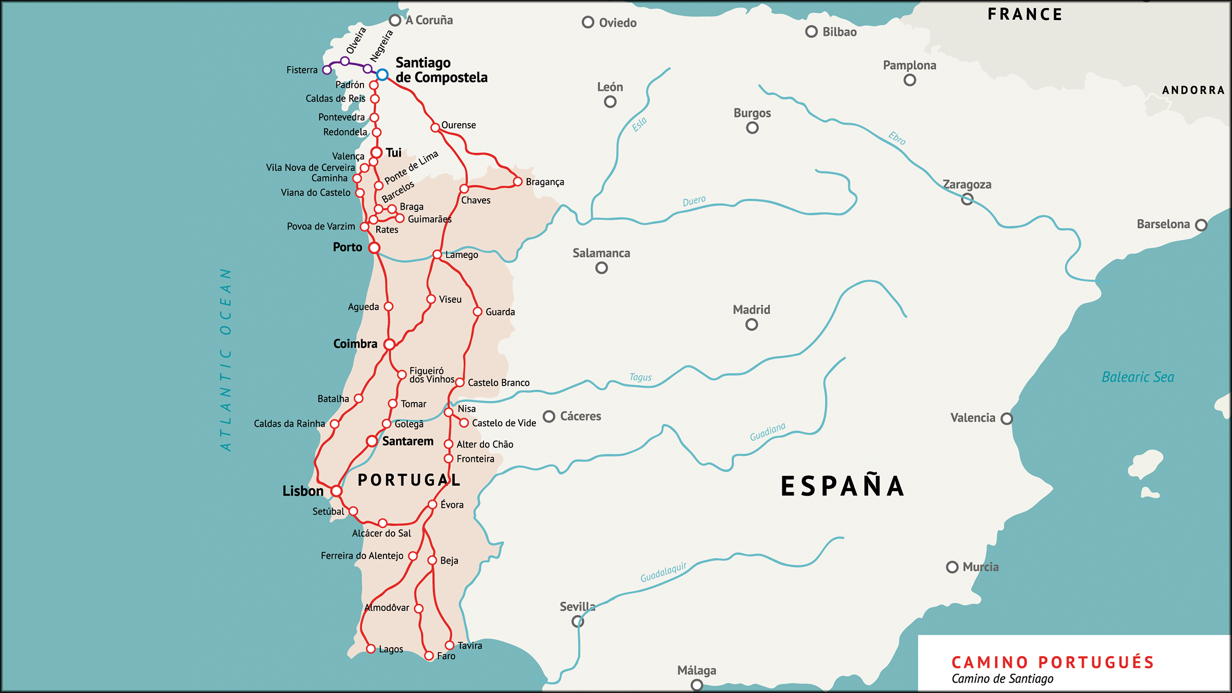 Mapa del Camino Portugués (Camino de Santiago)