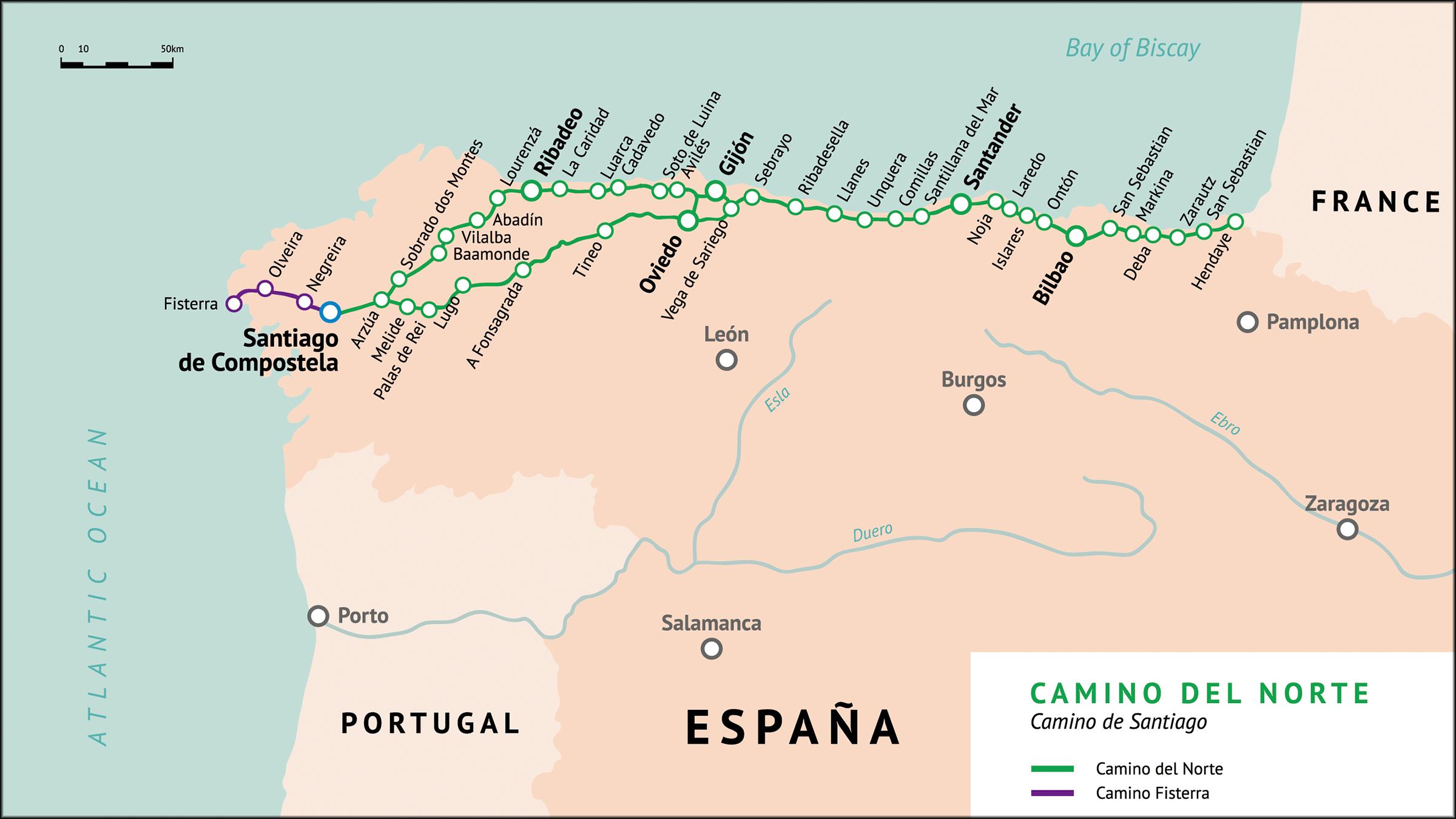 Mapa del Camino del Norte (Camino de Santiago)