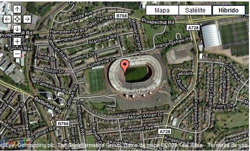 Mapa estadio del futbol de Glasgow