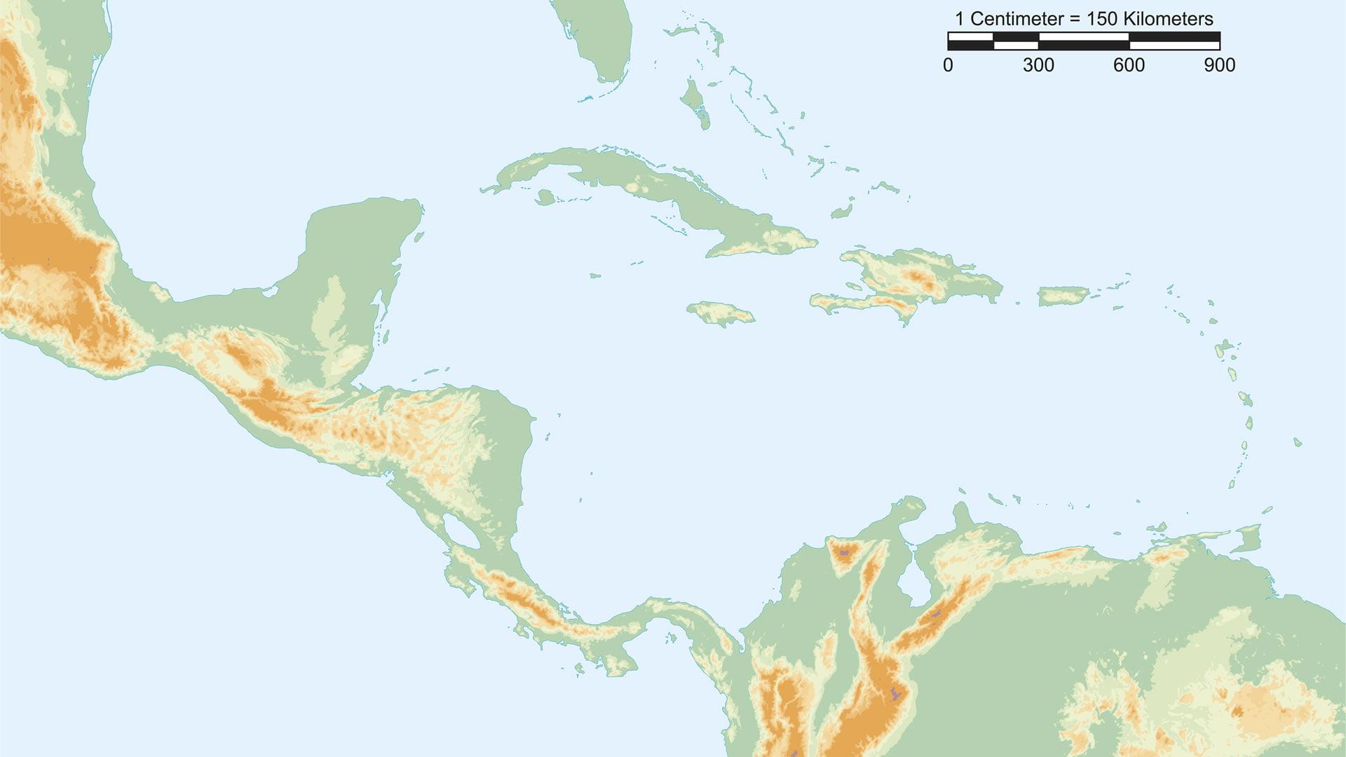 Mapa fsico de Centroamrica con escala