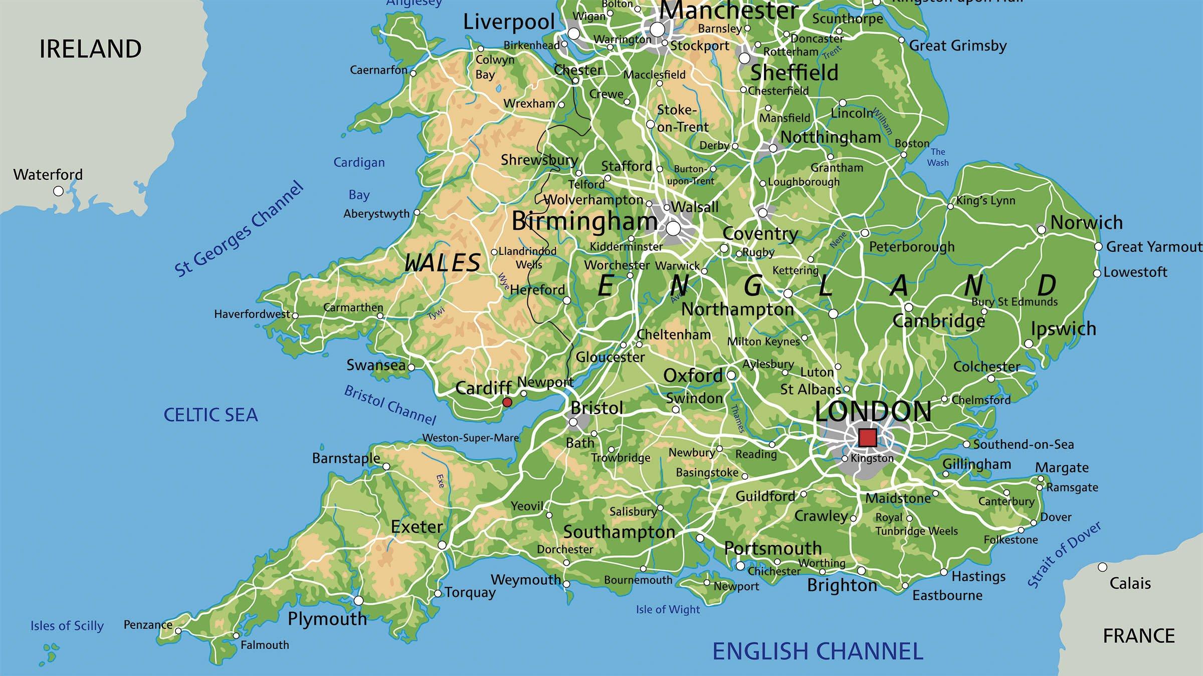 Mapa físico de Inglaterra