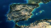 Mapa físico de Portugal con relieve en 3D