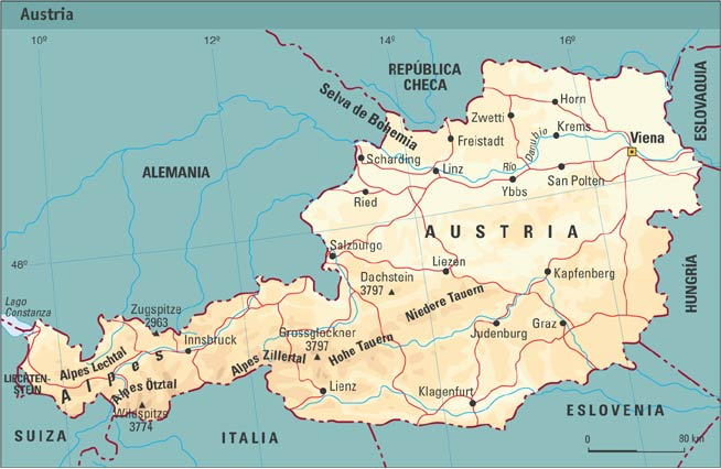 Mapa fisico Austria