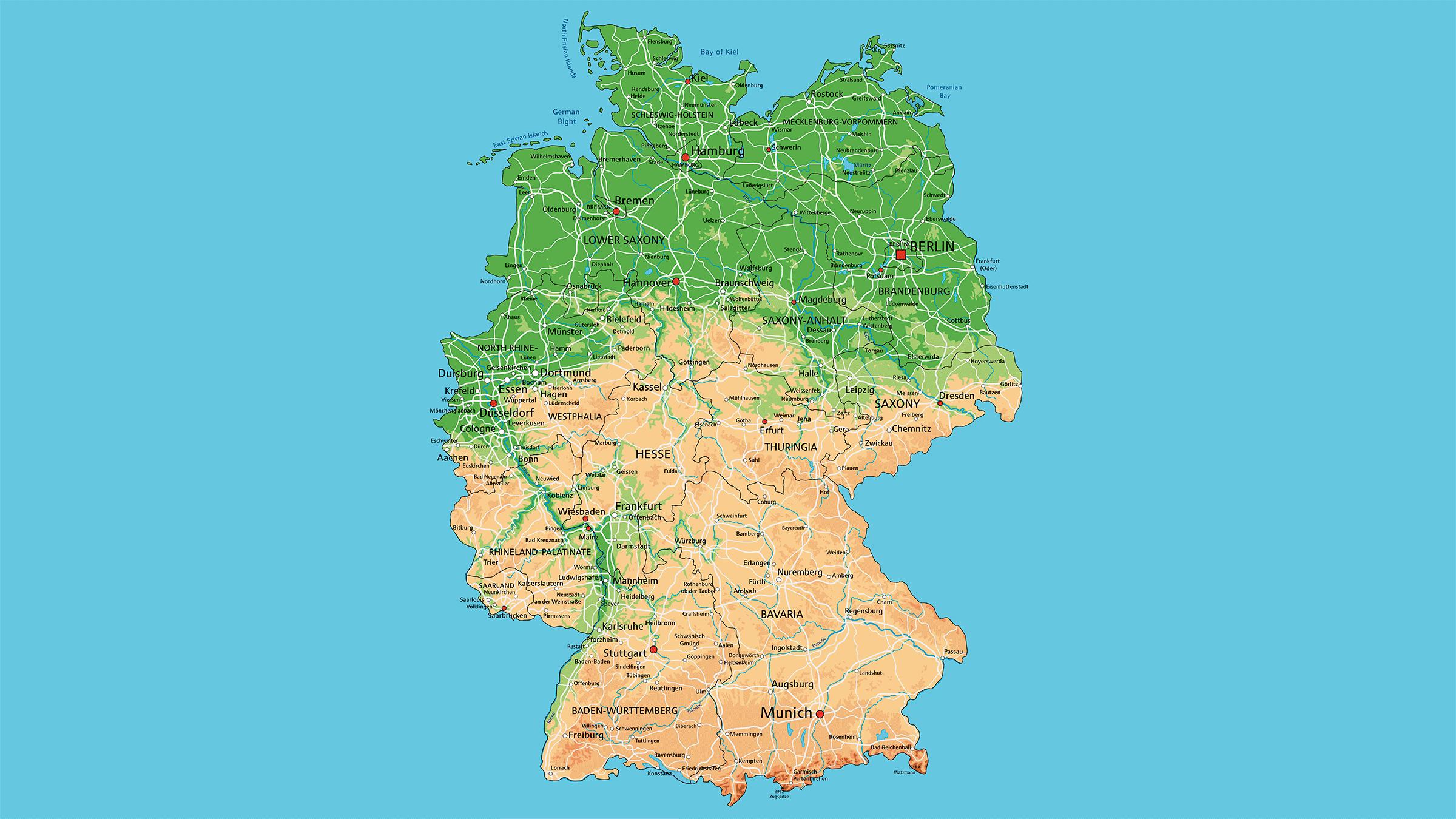 Mapa fisico de Alemania
