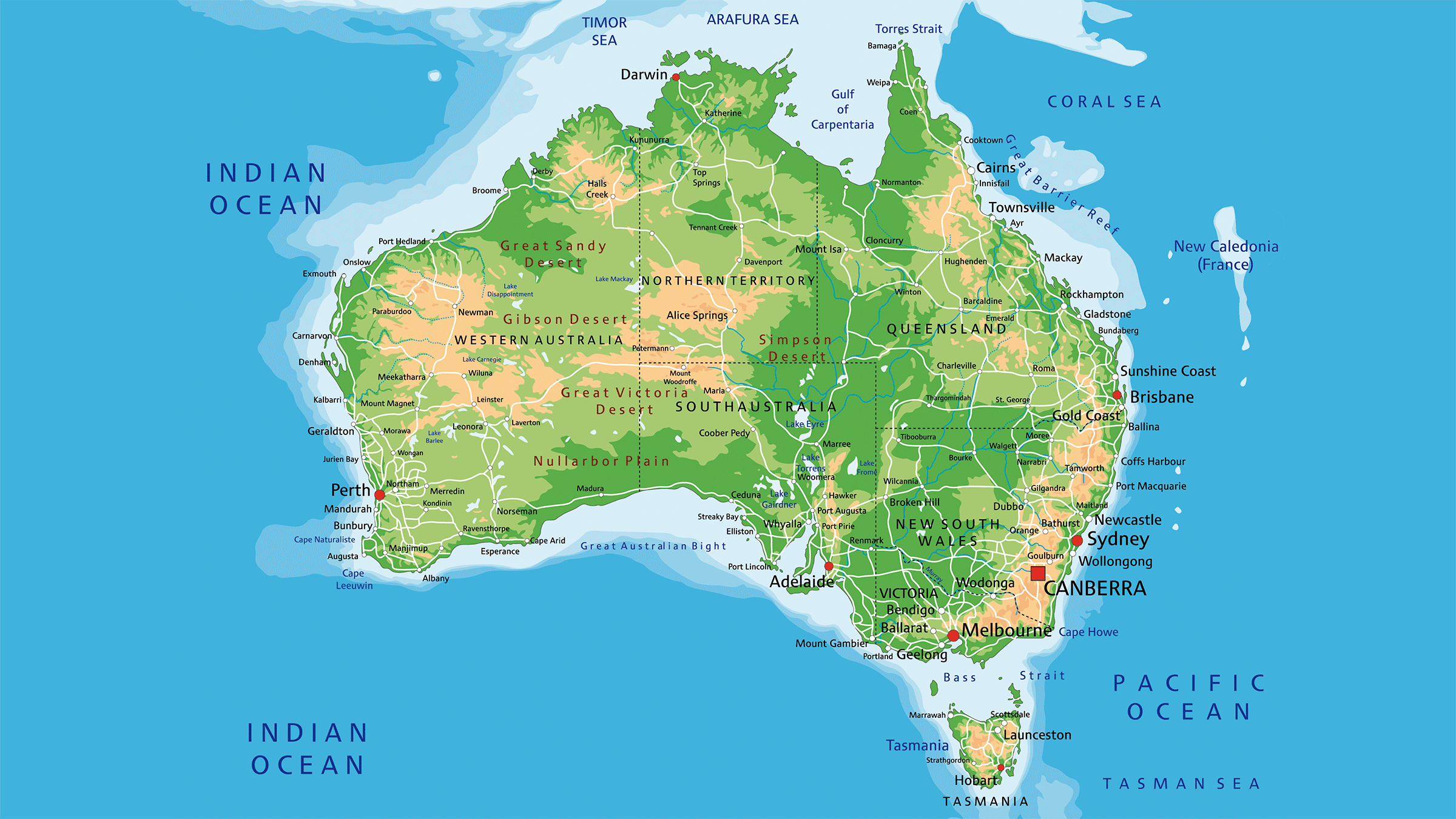 Mapa fisico de Australia