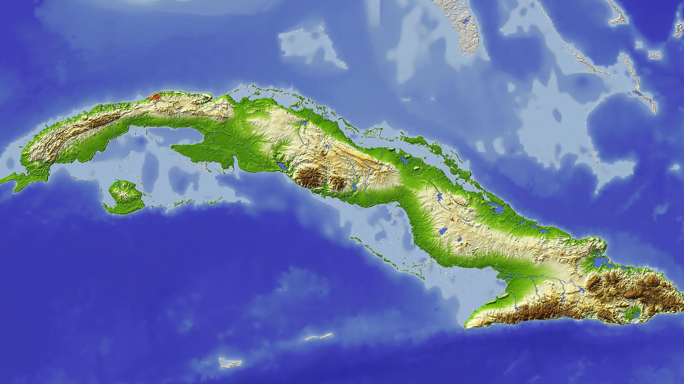 Mapa físico de Cuba